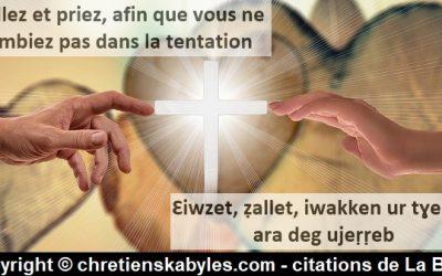 Veillez et priez, afin que vous ne tombiez pas dans la tentation